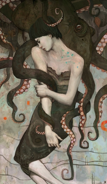 cephalopods, girl, illustration, octopus, tentacles, woman