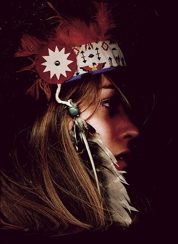 bullshit, face, feathers, girl, head dress, headdress