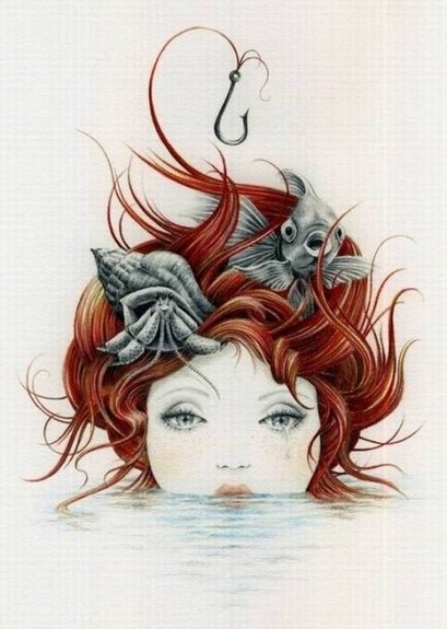 courtney brims, crying, drawing, drawn, fish, red hair