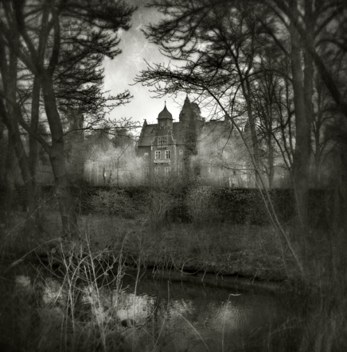 black, black and white, fog, germany, gothic, house