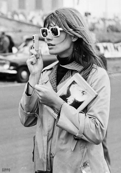 60s, beautiful, black and white, coat, fashion, francoise hardy
