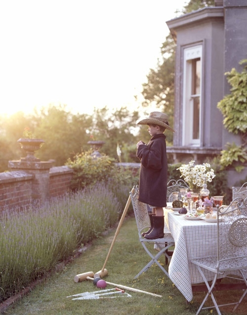 boots, boy, croquet, dining, garden, garden party