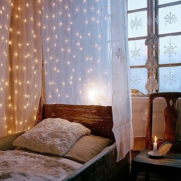 bed, candle, curtain, decor, interior, lights, pillow, room, snowflakes