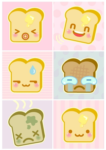 cartoon, cuteness, faces, happy, illustration, likes, sad, toast, vector