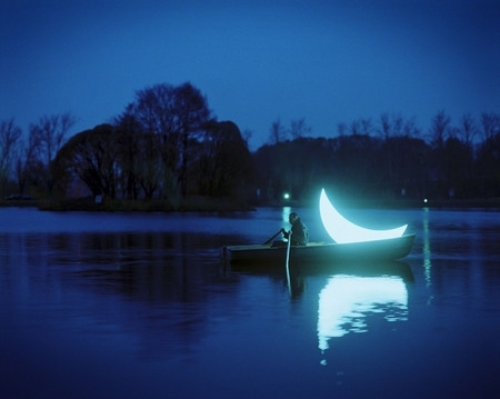 boat, lake, moon, night, water, woods