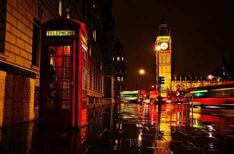 at night, big ben, city lights, london, phone booth