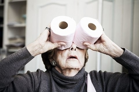 funny, insane, mad, old, toilet paper, woman