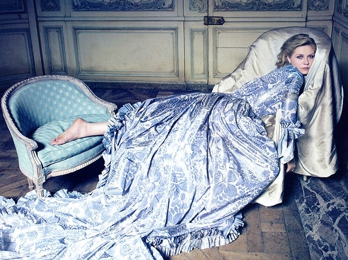 blue, brocade, costume, dress, kirsten dunst, marie antoinette