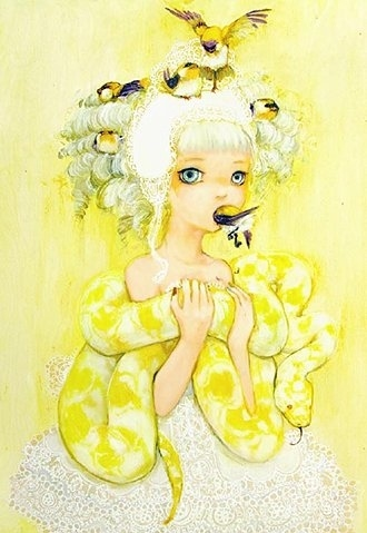 art, birds, blonde, camilla derrico, children, drawing