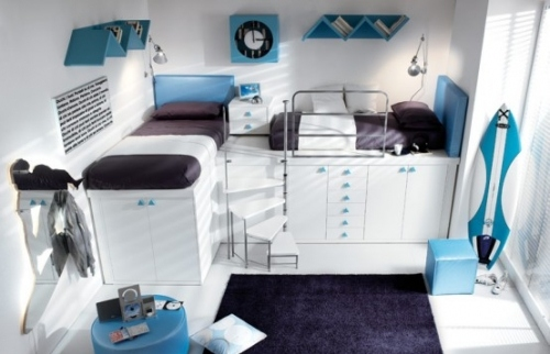 bed, bedroom, blue, decor, decoration, design, kid, loft, loft bed, loft bedroom, rooms, space, teen, white