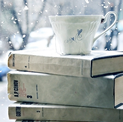 blue, bokeh, books, coffe, cute, lolita