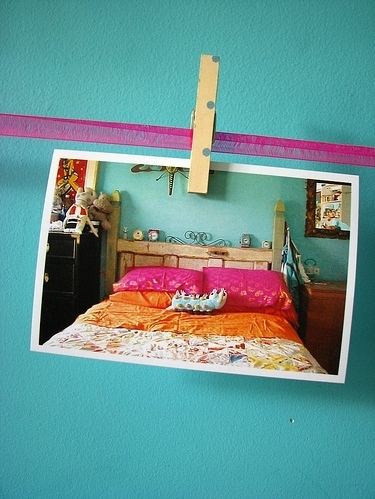 bedroom, bright, clothespin, color, colorful, fuschia