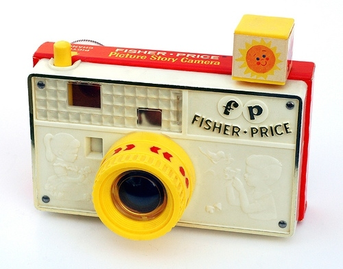 camera, camera toy, cameras, fisher price, red, retro
