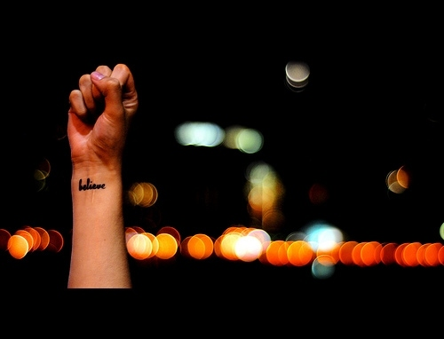 arm, believe, hand, lights, tattoo, text