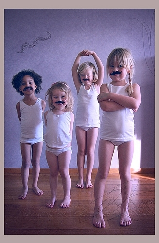 cute, girls, kids, moustache, mustache