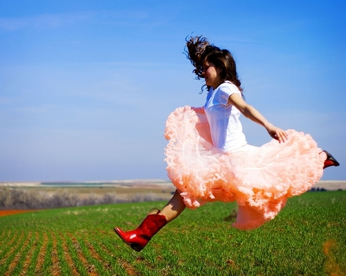 blue, boots, cowboy boots, girl, jump, red