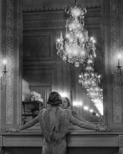 1930s, b/w photography, black and white, chandelier, classy, fur