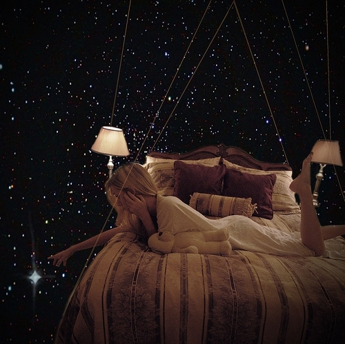 bed, bed room, dreams, galaxy smoking, girl, night