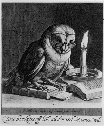 art, black and white, books, candlelight, illustration, owl, owls, reading, spectacles, vintage