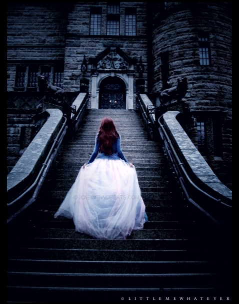 blue, fairy tales, fairytale, long dress, pieces, princess, red hair, tulle, white dress, xxd
