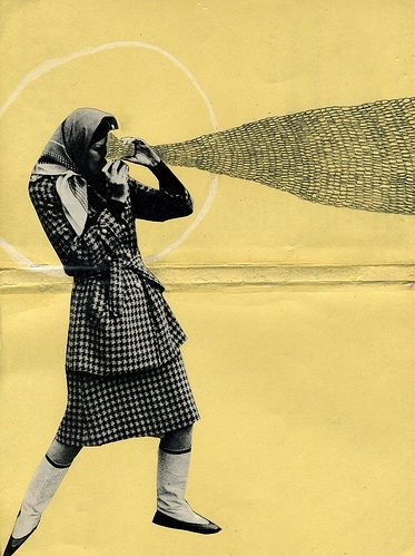 1960s, 60s, collage, etc., girl, houndstooth, illustration, machine, misc, paper, pencil, photo, vintage