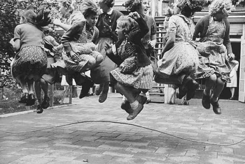 black and white, children, jump, jump rope, kids, vintage