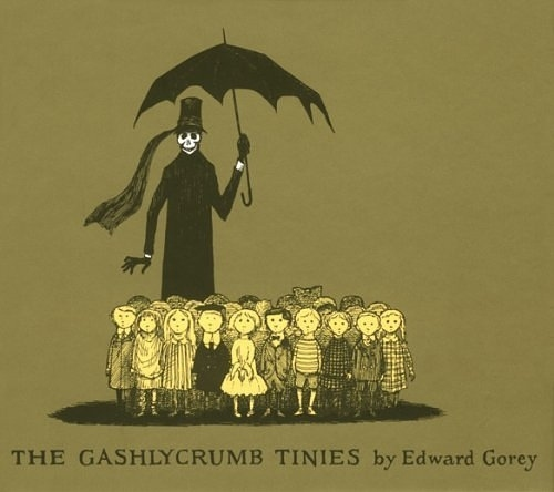 book, book cover, cautionary, children, death, edward gorey, gashlycrumb tinies, green, illustration, kids, macabre, olive green, parasol, skeleton, skull, the gashlycrumb tinies, the vinegar works, umbrella, unfortunate