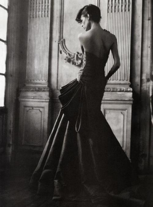 back, black and white, dress, fashion, freja beha erichsen, model
