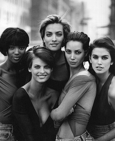 black and white, christy turlington, cindy crawford, elaine irwin, fashion, linda evangelista, model, naomi campbell, niomi cambell, peter lindbergh, supermodels