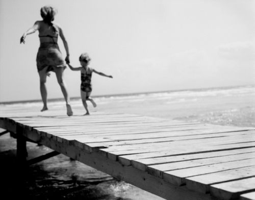 bar, beach, child, dock, mother, mother and child