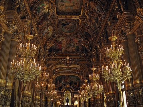 ceiling, chandelier, france, interior, opera garnier, ornate