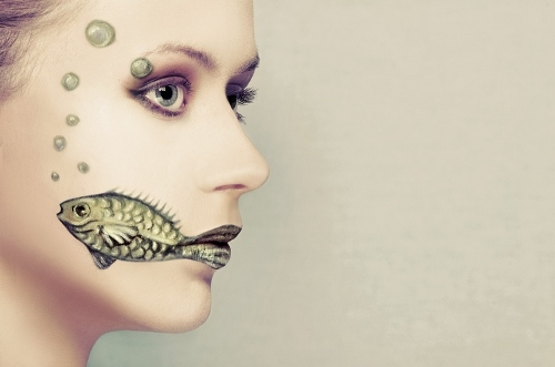 face paint, fashion, fish, girl, makeup, mermaid