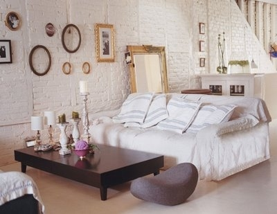 brick, candles, candlesticks, cushions, decor, frames, home, sofa, interior design, interior, loft, mirror, wall, white