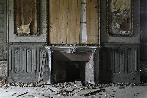 abandoned, creepy, decay, fireplace, gay, gray, grey, room, ruins