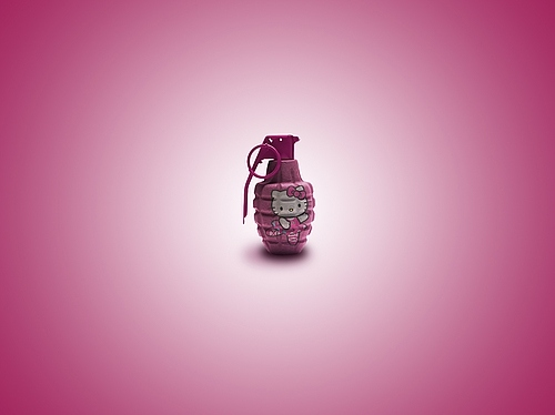 :)), grenade, hello kitty, pink, real hello kitty, society