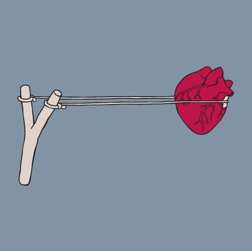 conceptual, desenho, estiligue, graphic design, heart, illustration, slingshot