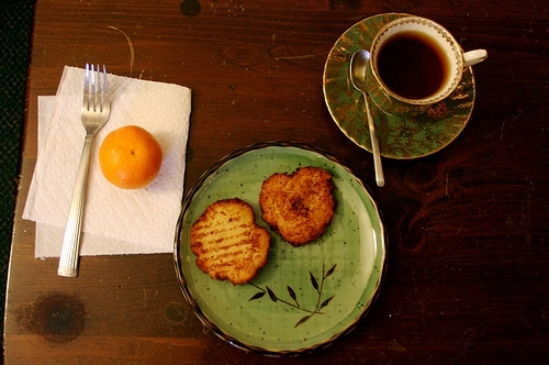 breakfast, brown, coffee, food, green, orange, tea, toast