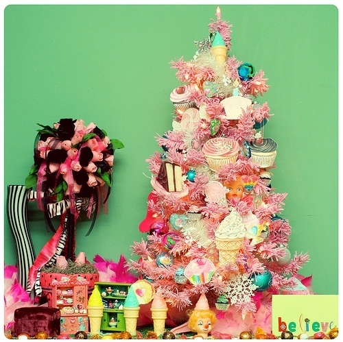 christmas, cupcake, cupcake tree, cupcakes, cute, ice cream, ice cream tree, pretty, sugar, tree, xmas