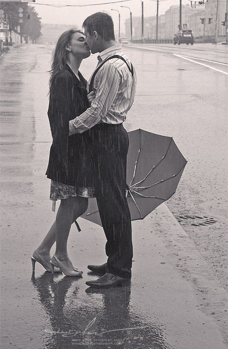 black and white, couple, dress, kissing, rain, suspenders