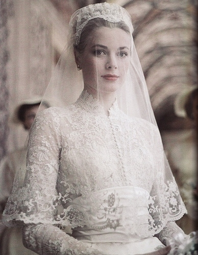 bride, dress, grace kelly, vintage, white