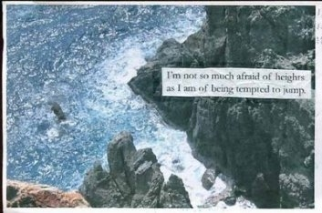 cliff, heights, jump, post secret, postsecret, water, words