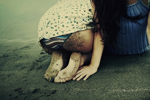 beach, blue, bum, dirt, feet, girl, retro, sand, sea, weird