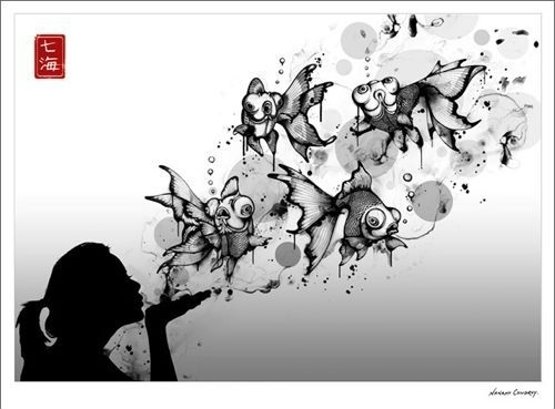 black and white, blow, bubbles, fish, girl, goldfish