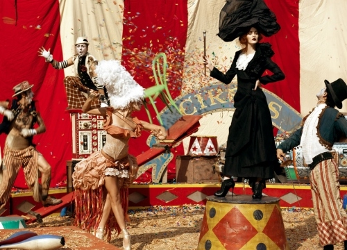 circus, fashion, karen elson, lucent dossier, model, photography, steven meisel