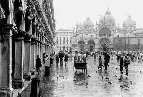 architecture, black and white, cathedral, italy, people, piazza, pigeons, places, rain, rainy, san marco, venice