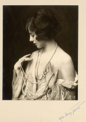 1920s, black and white, cleavage, hands, necklace, pearls