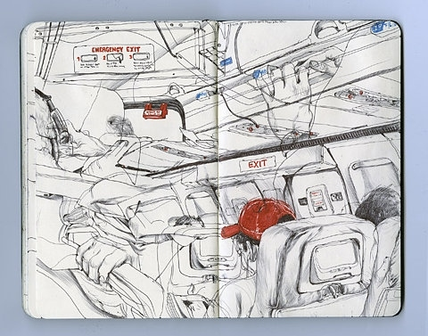 draw, drawing, illustration, illustrations, james jean, moleskine, plane, sketches, time