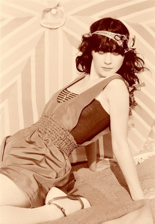 black and white, ellen von unwerth, fashion, nylon mag, sepia, zooey deschanel