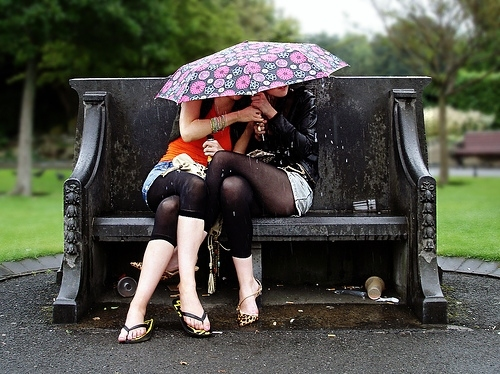 bench, bracelets, dublin, flip flops, girl, girls umbrella