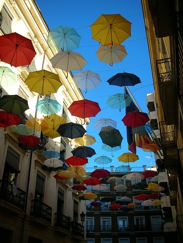 color, colorful, colour, colourful, installation art, installations, umbrella, umbrellas